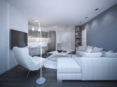 White elegant studio apartment