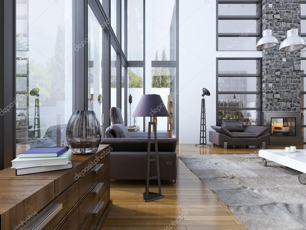 Idee Wohnzimmer mit Panoramafenstern — Stockfoto © kuprin33 #83410814