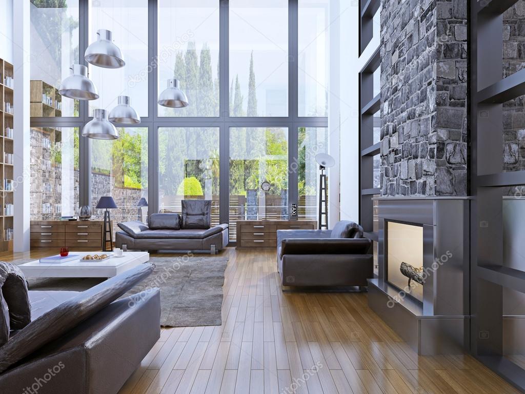 Loft apartment interior design with panoramic window for Br interior designs
