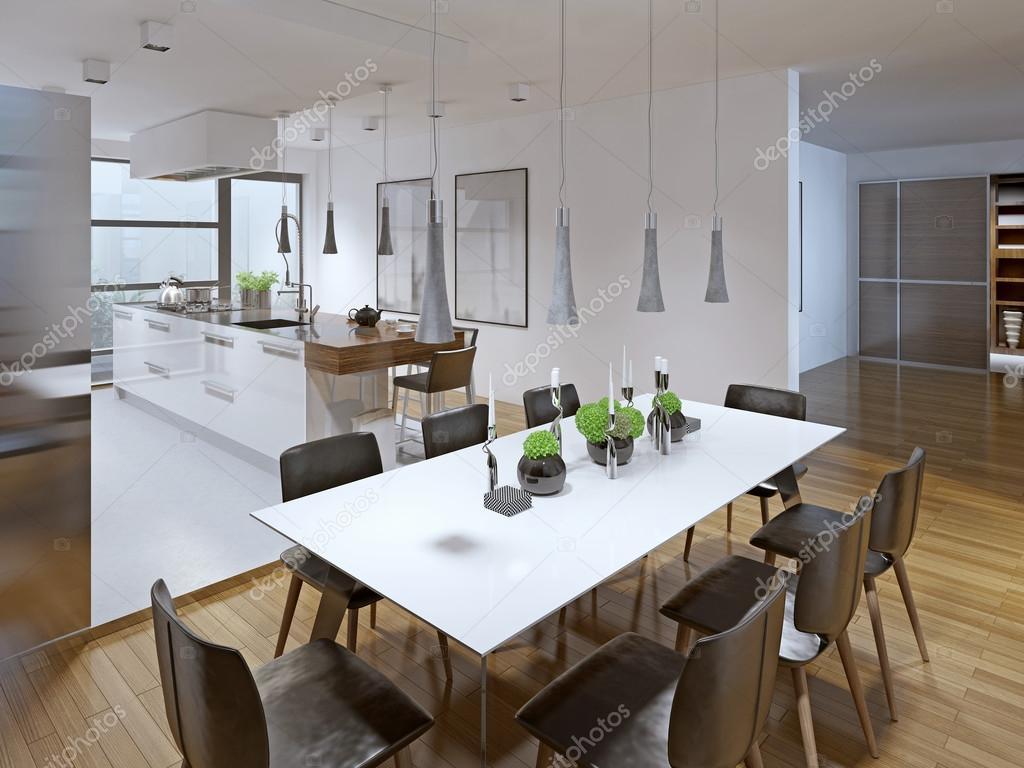 Disegno della cucina moderna con sala da pranzo — Foto Stock ...