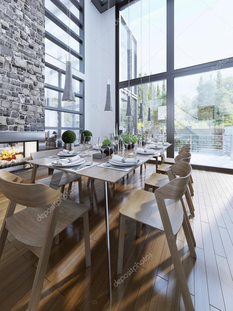 Brillante diseño de comedor con ventanas panorámicas — Foto de stock ...