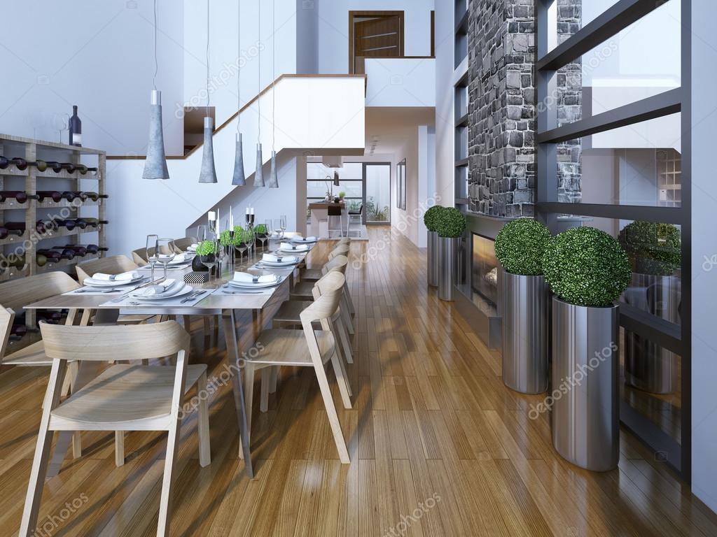 Luxus Esszimmer | Luxus Esszimmer Zweistockiges Hightech Stil Stockfoto C Kuprin33