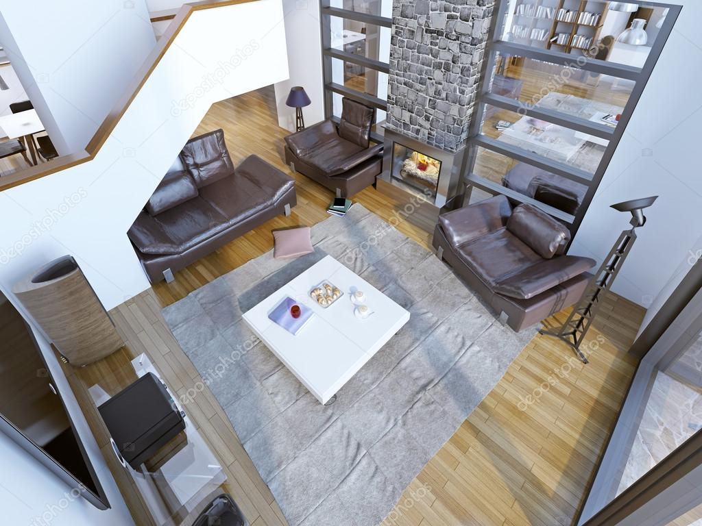 Idee van moderne hoge plafond lounge kamer u2014 stockfoto © kuprin33