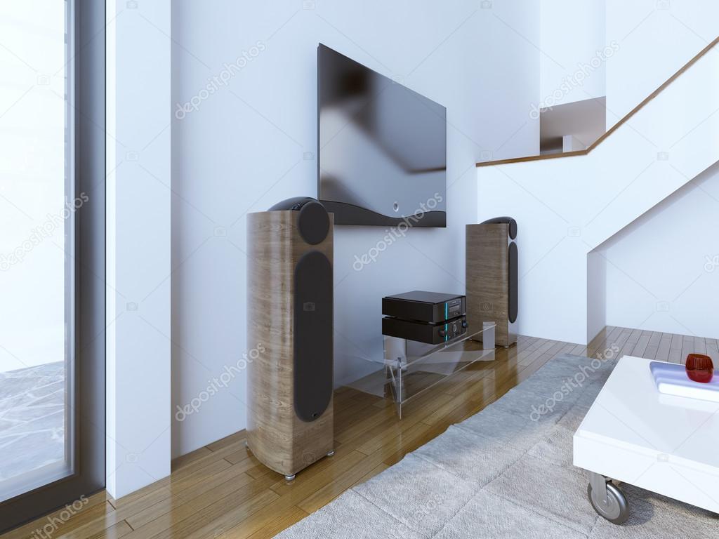 TV en geluid systeem op moderne woonkamer — Stockfoto © kuprin33 ...