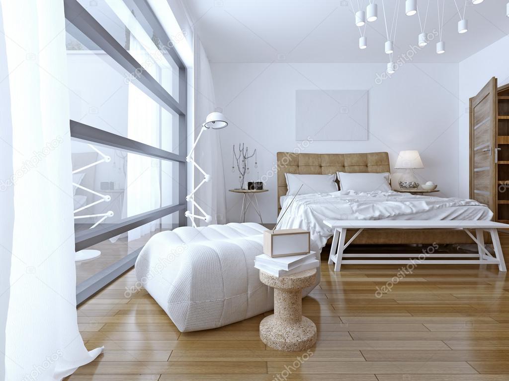 Schlafzimmer mit weißen Wänden im modernen Stil — Stockfoto ...