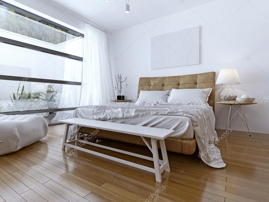 Mooie Slaapkamer Gordijnen : Slaapkamer interieur met gordijnen en mooi landschap weergave