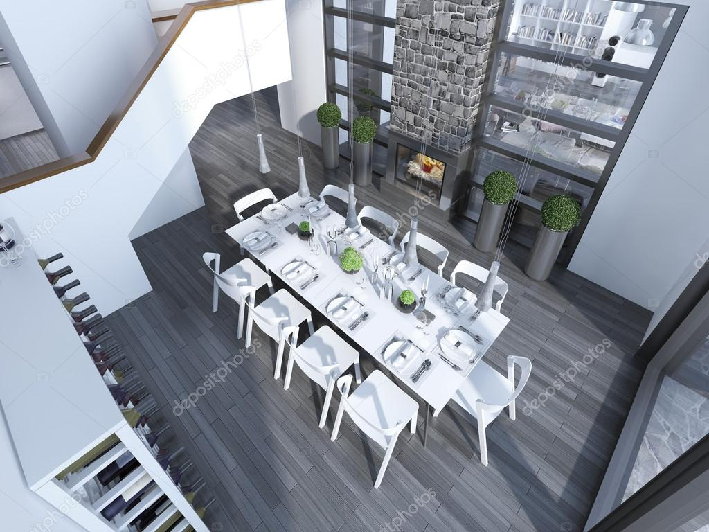 moderne restaurants mit weissen mobel trend draufsicht esszimmer mit weinregal tisch fur 10 personen und kamin