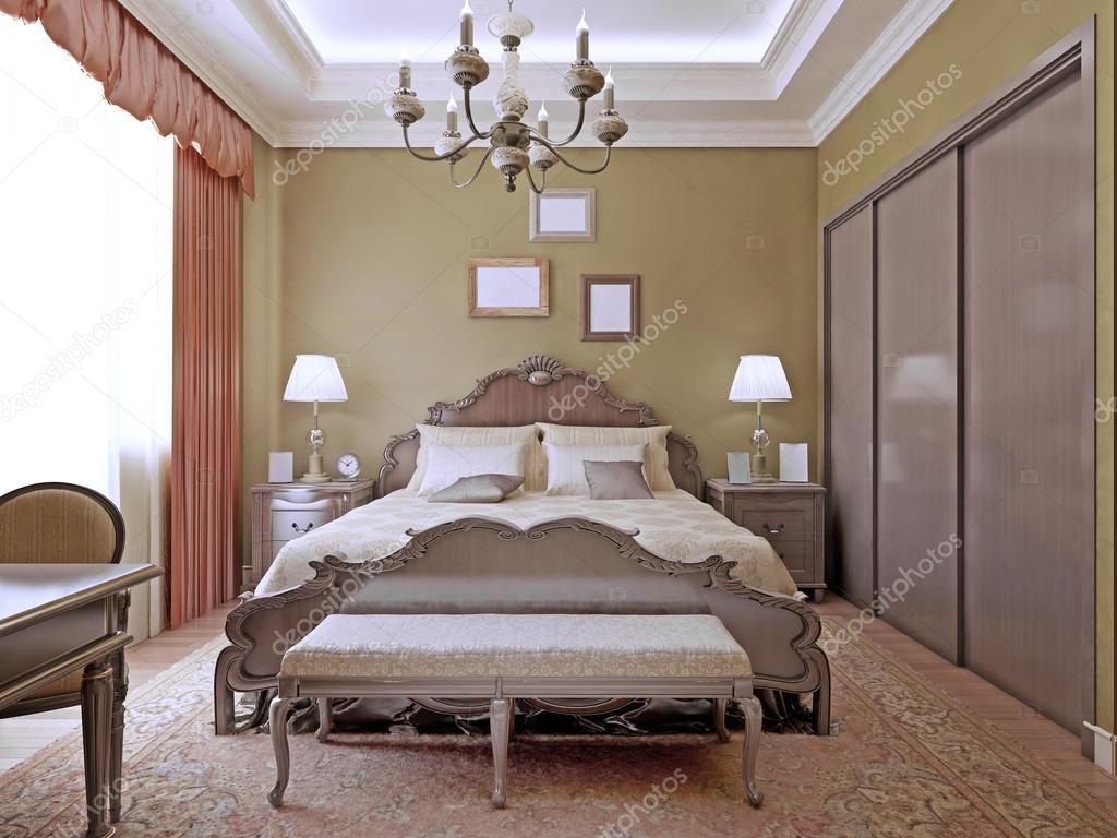 Art deco slaapkamer met plafond neon verlichting u stockfoto