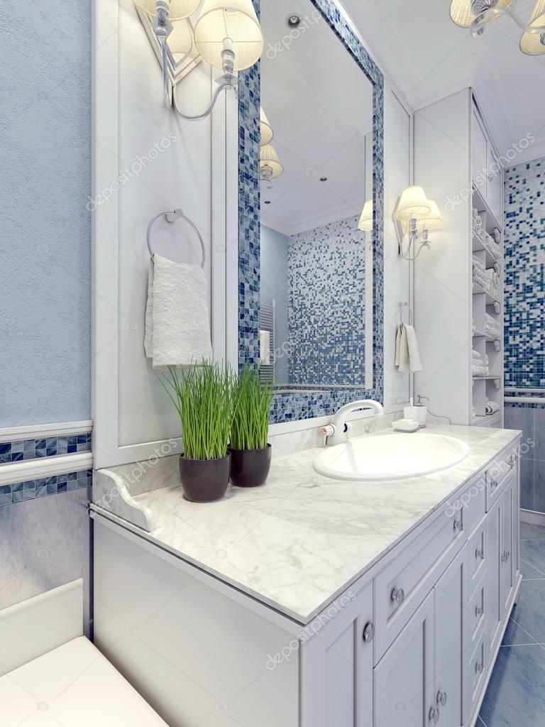 Provence blau Badezimmer trend — Stockfoto © kuprin33 #83413336