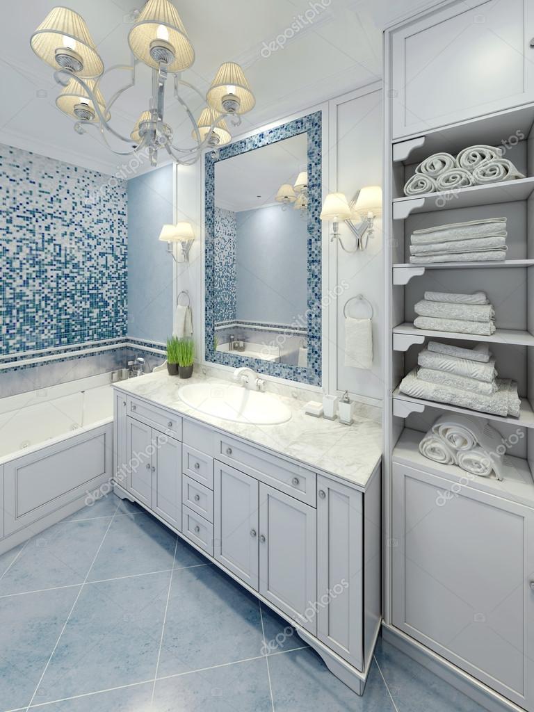 Élégante salle de bains art déco design — Photographie kuprin33 ...