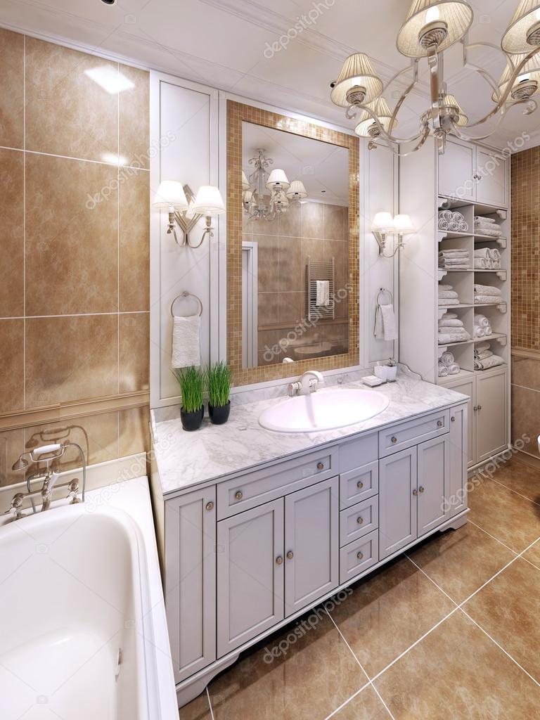 Idée de design de salle de bain classique de luxe ...