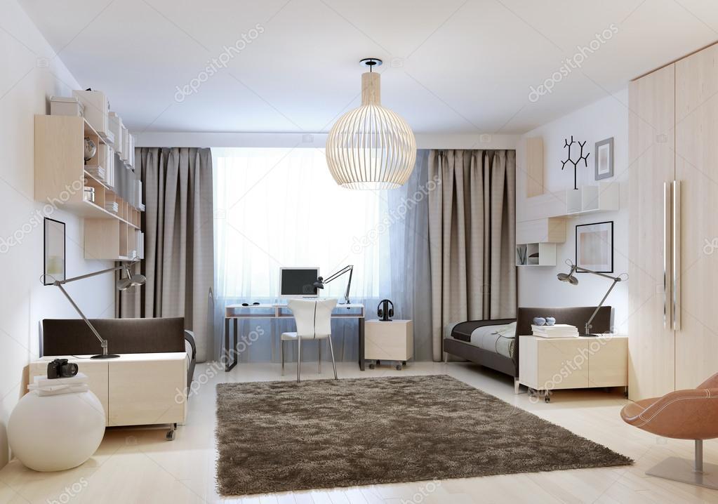 Camera da letto con due letti singoli in stile di minimalismo — Foto ...