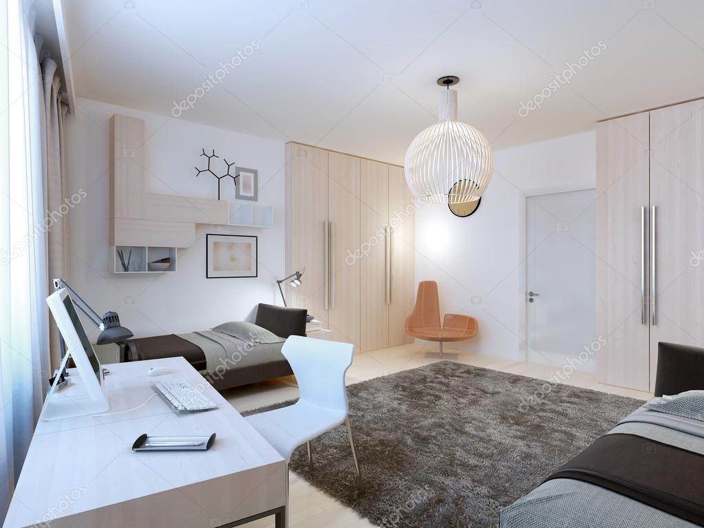 Interieur van tieners slaapkamer met werkgebied u2014 stockfoto