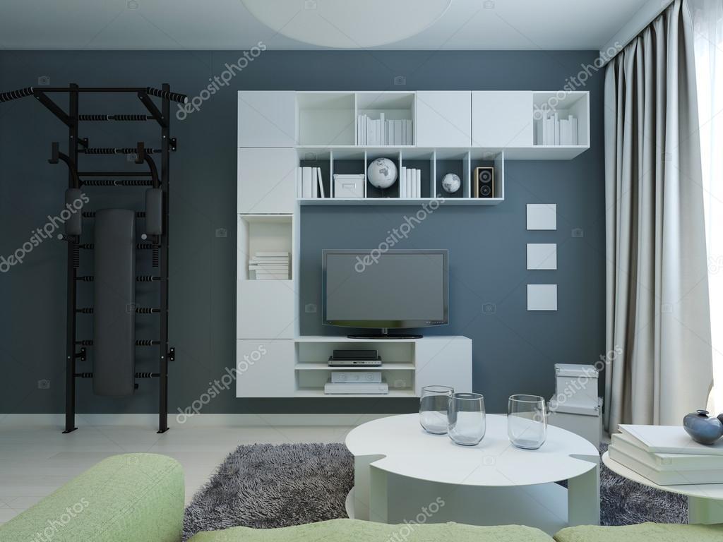 Tiener lounge met marine muren moderne stijl u stockfoto