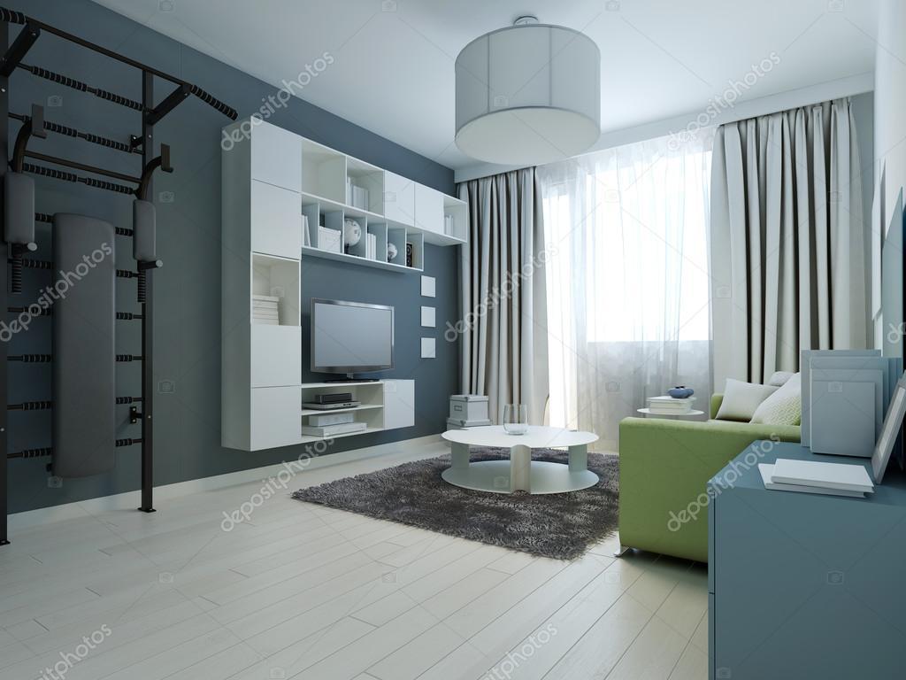 Idee van moderne lounge met muur bars u stockfoto kuprin