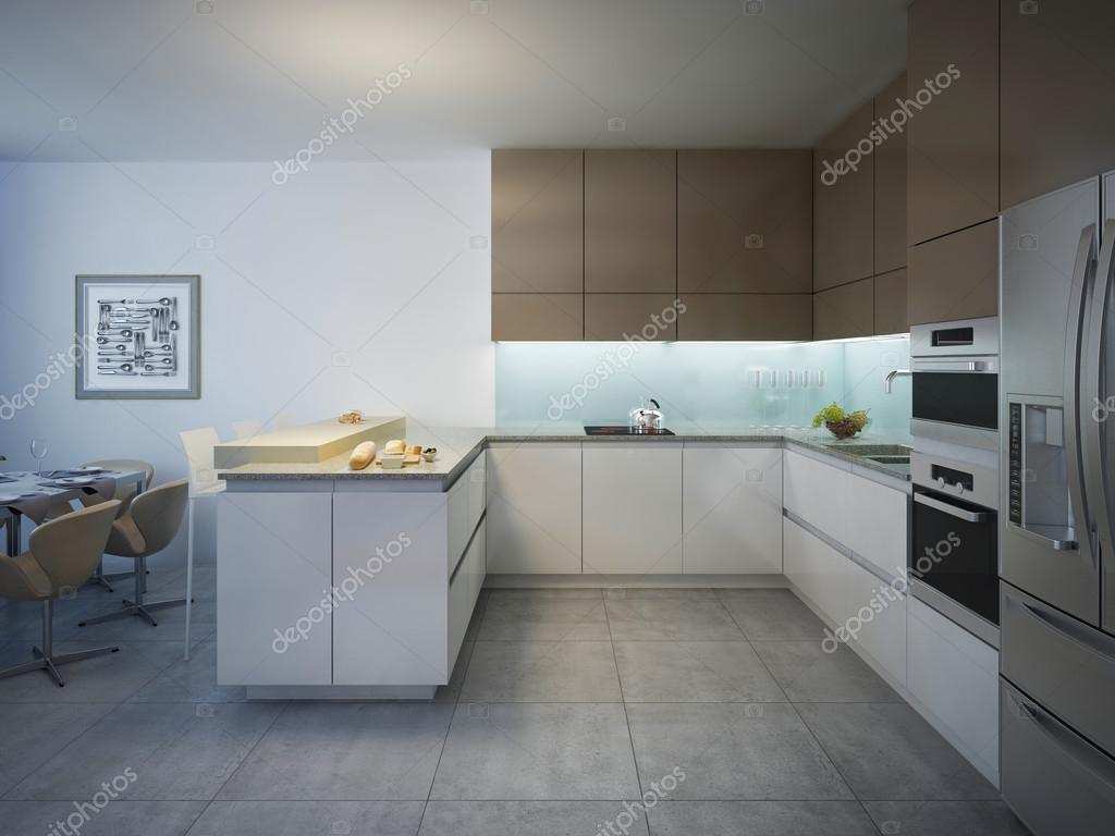 Gestaltung der helle, moderne Küche mit Bar — Stockfoto © kuprin33 ...