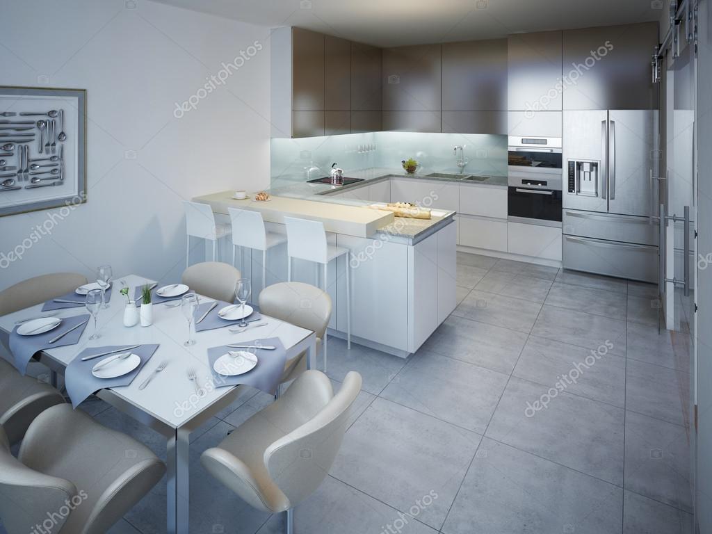 Idea of minimalist kitchen with bar — Stock Photo © kuprin33 #83413904