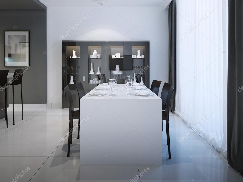 aca9b242cbba Middag på minimalistiska köksdesign. Elegant inredda tabell för sex  personer i köket med svart och vit färg.