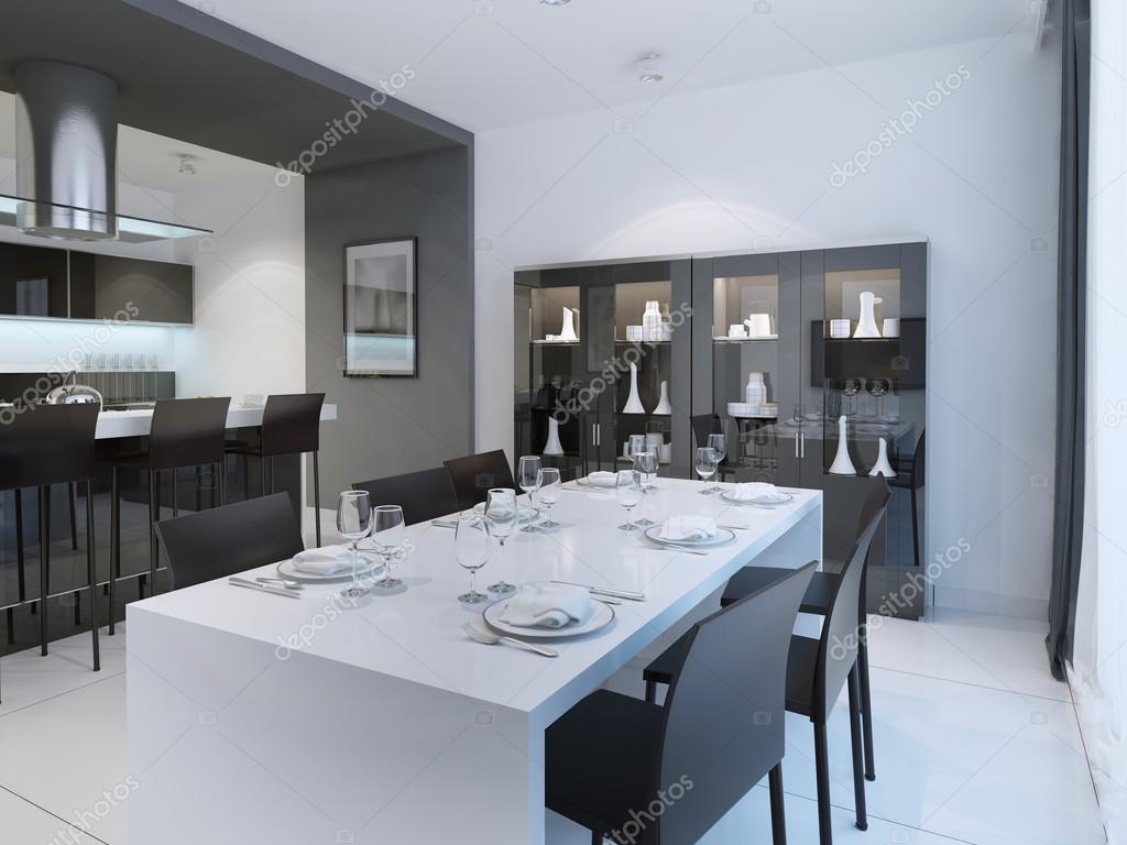 Sala Da Pranzo Contemporanea : Contemporaneo sala da pranzo con tavolo bianco servito u foto