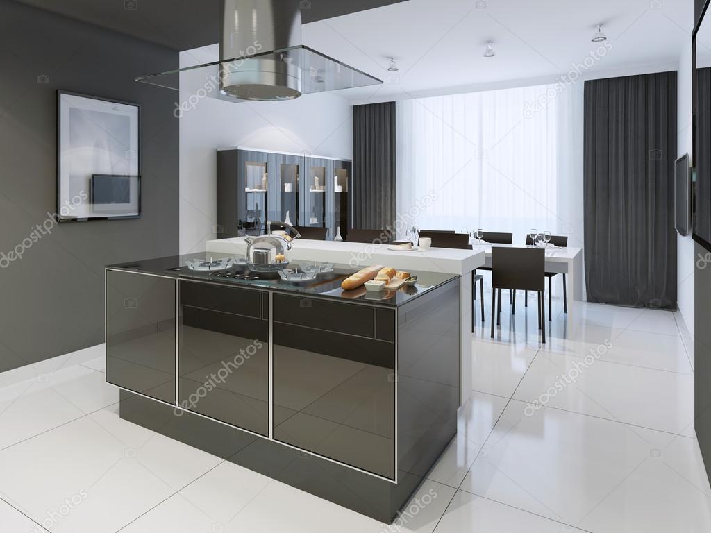 Estilo moderno de cocina blanco y negro foto de stock for Cocina estilo moderno