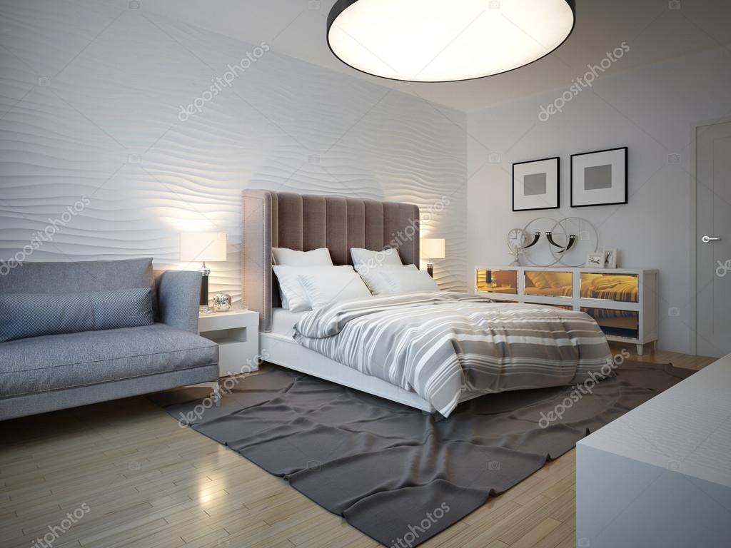 Slaapkamer art decostijl met grote plafondlamp — Stockfoto ...