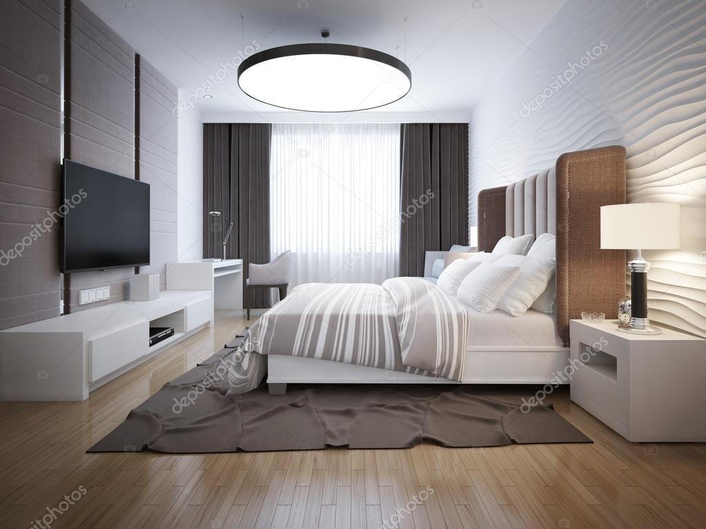 Design luminoso della camera da letto contemporanea — Foto Stock ...