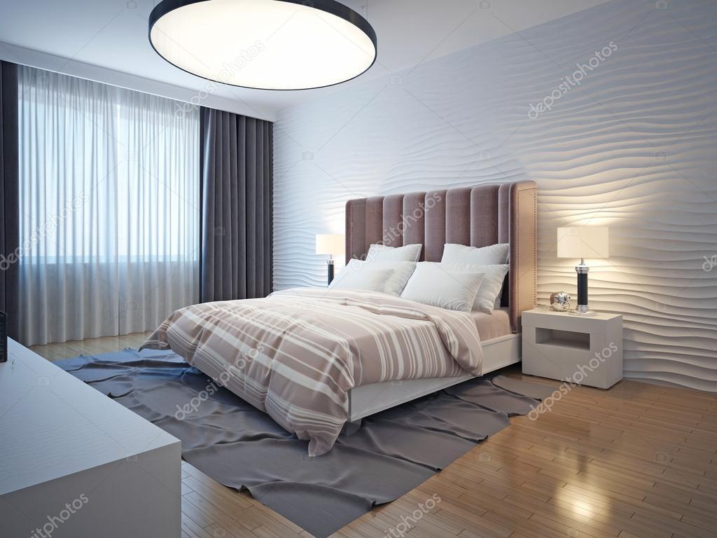 Lichte tinten moderne slaapkamer interieur — Stockfoto © kuprin33 ...
