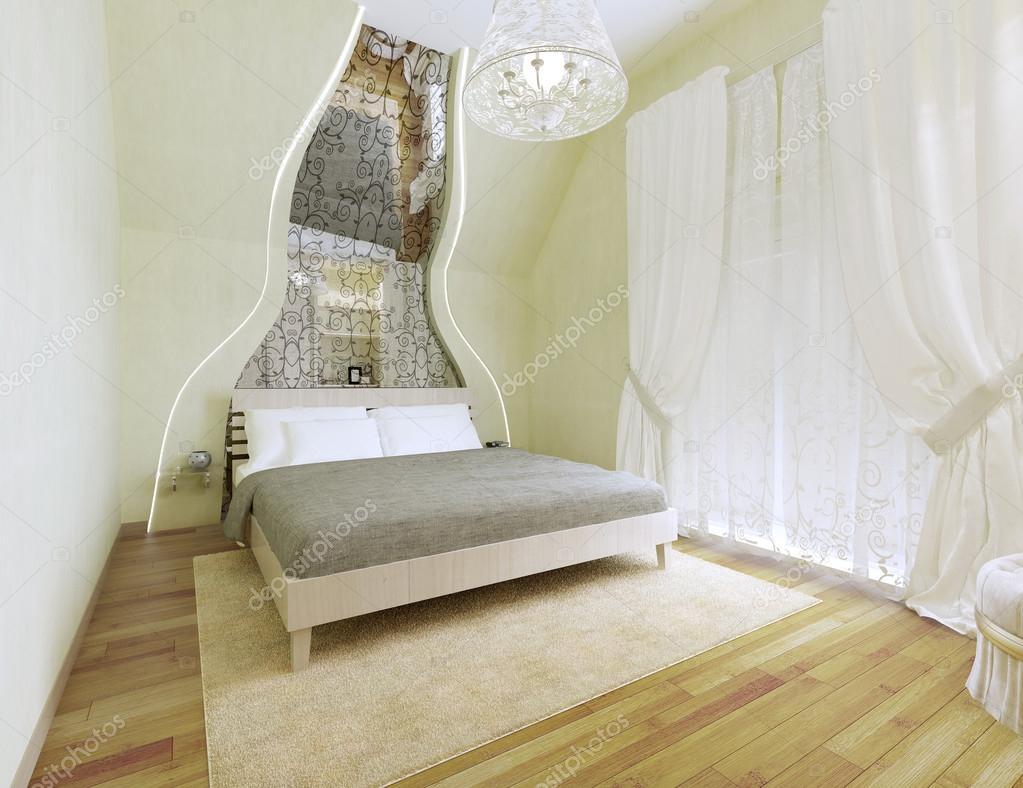 Art deco stijl slaapkamer met lichte olijfolie muren u2014 stockfoto