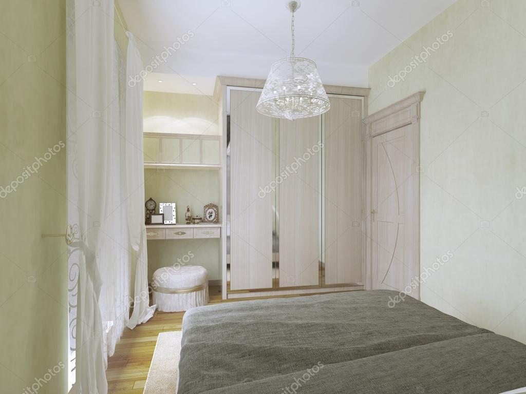Interieur Kaptafel Styling : Weergave van kaptafel en garderobe in de moderne slaapkamer