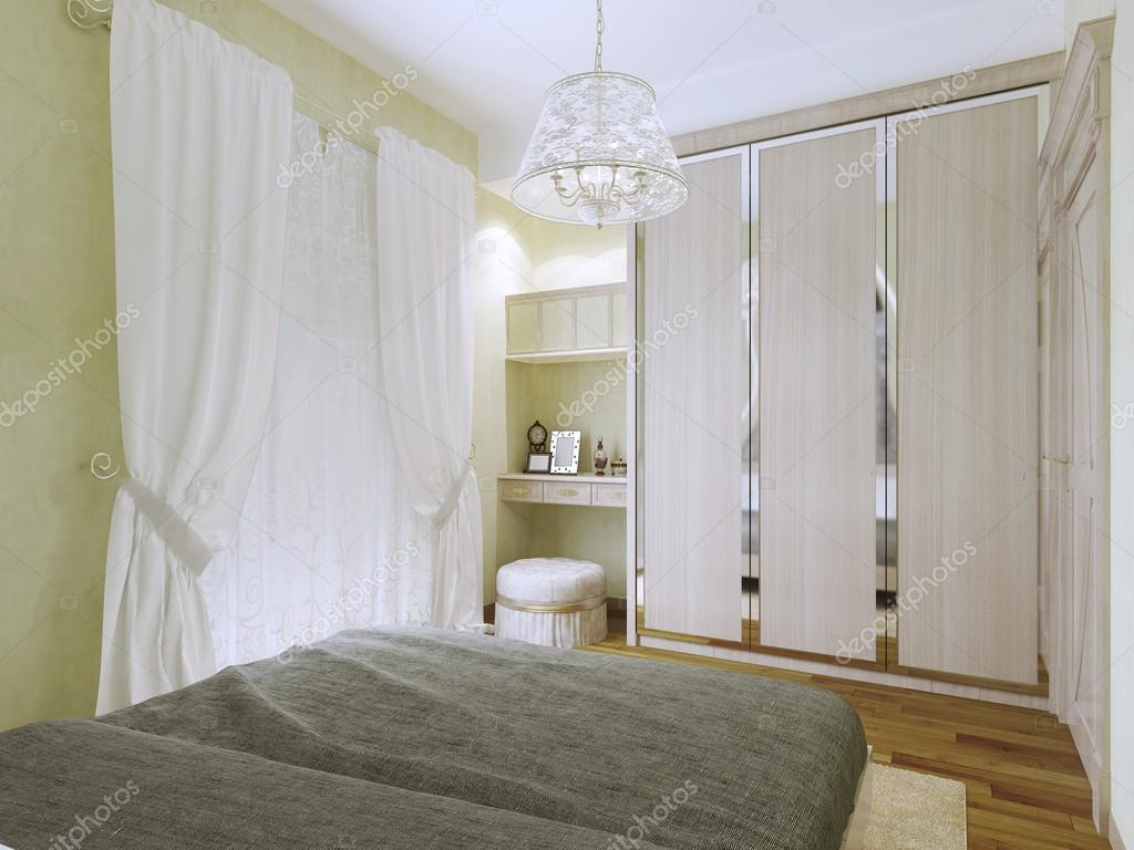 Kleine heldere art deco slaapkamer trend u stockfoto kuprin