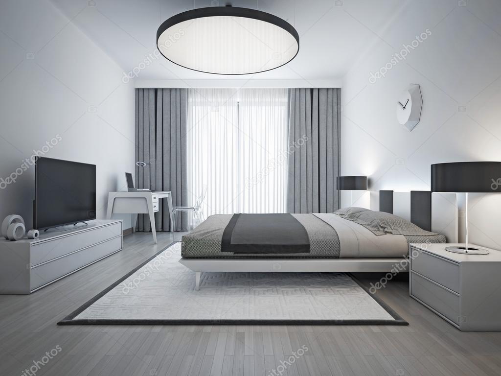 Stile contemporaneo elegante camera da letto — Foto Stock © kuprin33 ...