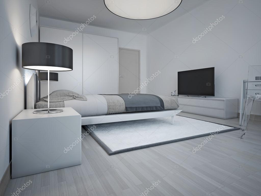 Idee van ruime moderne slaapkamer met grijze muren — Stockfoto ...