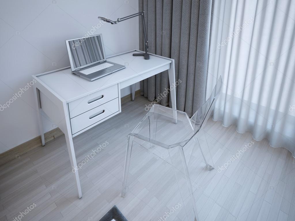 Werktafel in moderne slaapkamer u stockfoto kuprin