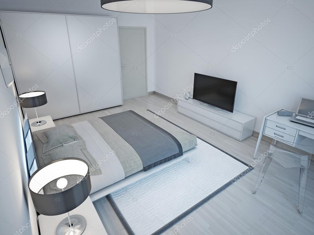 Camera Da Letto Grigio Chiaro : Design minimalista camera da letto grigio luce u foto stock