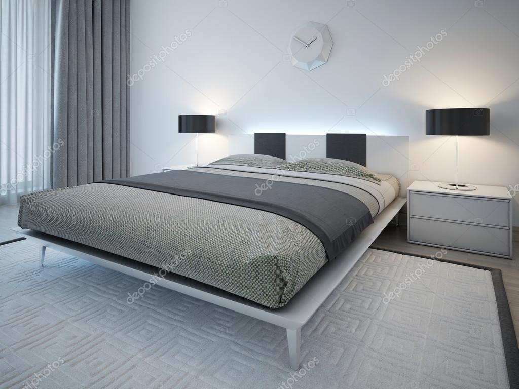 Dubbel bed met nachtkastje in minimalistische stijl u2014 stockfoto