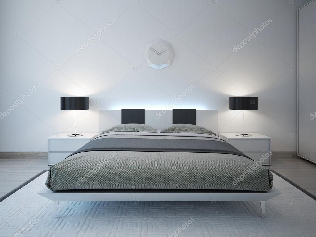 Camera da letto moderna con mobilia di illuminazione avanzata