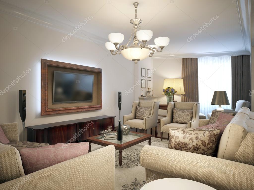 Soggiorno con mobili chiari. Stile di Provenza. — Foto Stock ...