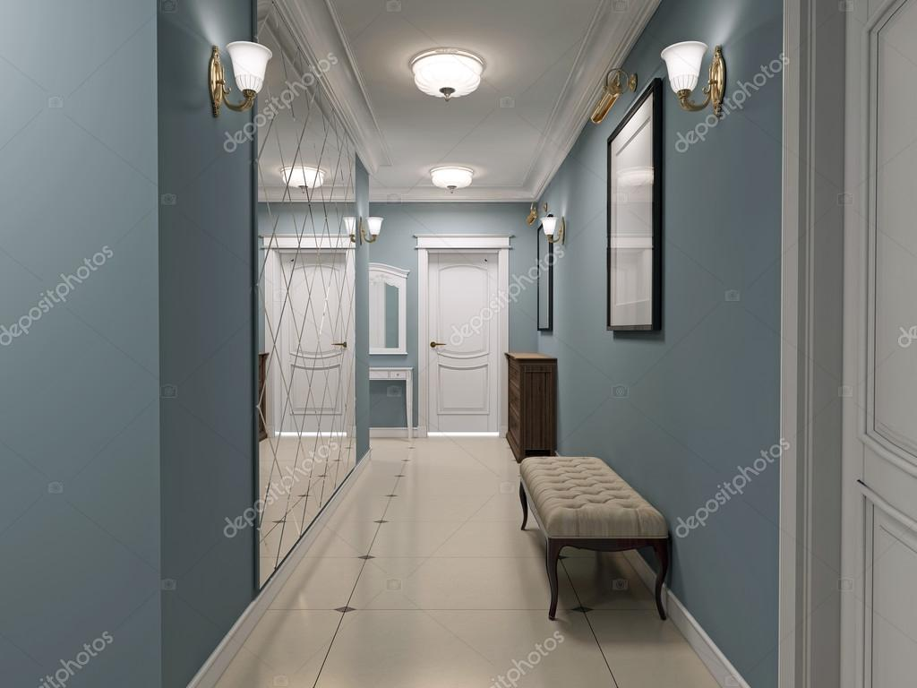 Luxury entrance hall art deco design stock photo for Couloir turquoise