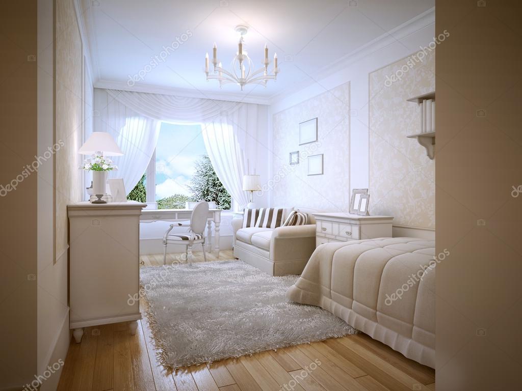 heldere tiener slaapkamer provence stijl stockfoto