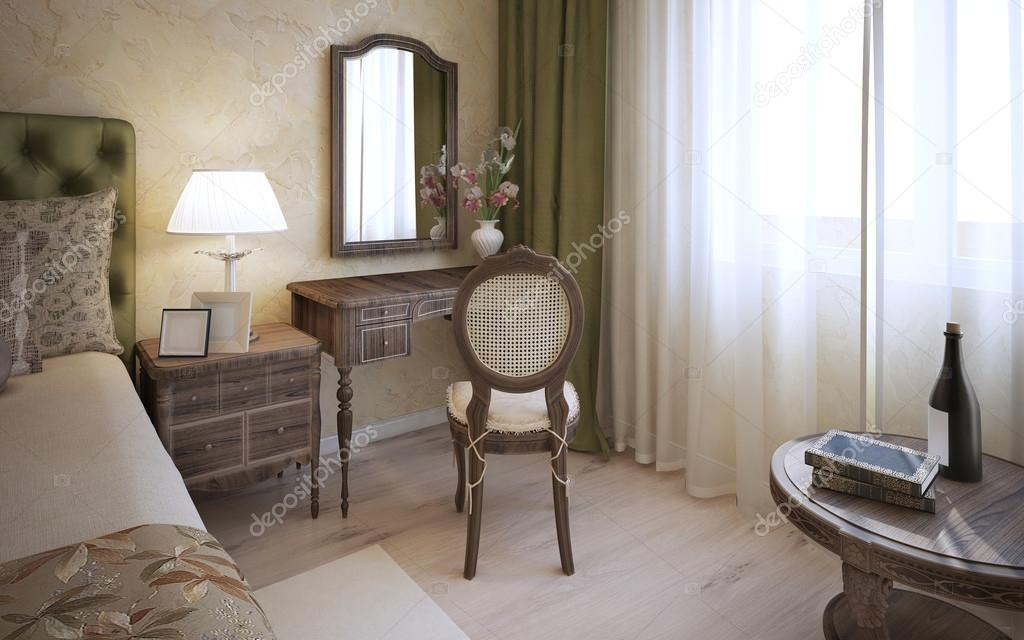 Kaptafel in Engelse slaapkamer — Stockfoto © kuprin33 #83418892