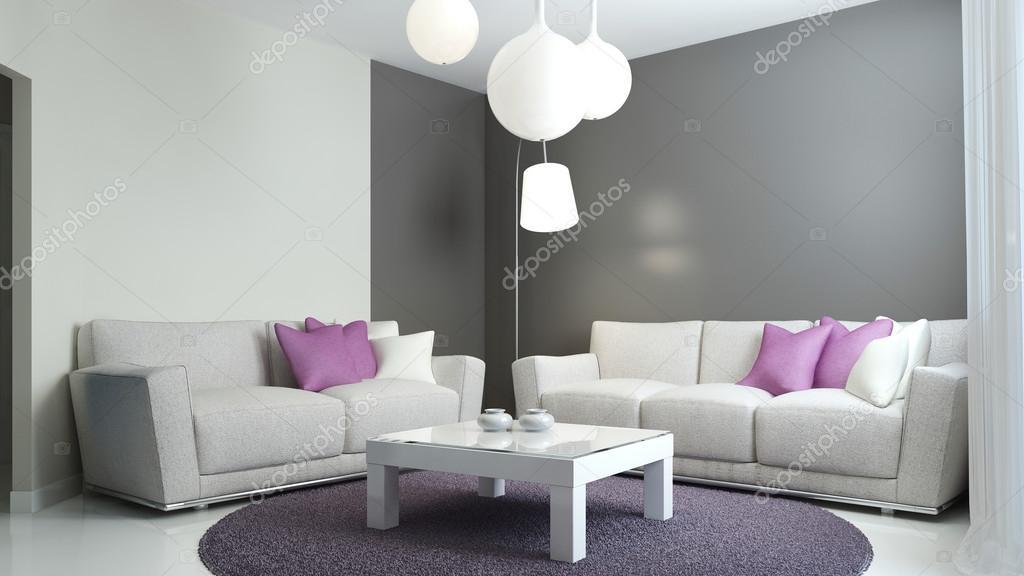 Wohnzimmer Im Skandinavischen Stil. Sofas Mit Lila Und Weißen Kissen,  Gemischte Grauen Und Weißen Wänden, Moderne Lampen Und Strenge Weiß  Couchtisch.
