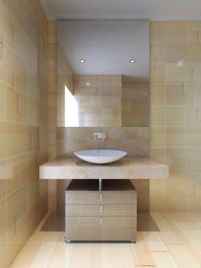 """Картина, постер, плакат, фотообои """"ванная комната в современном стиле зеркало раме зеркала круглые напольные"""", артикул 83427048"""