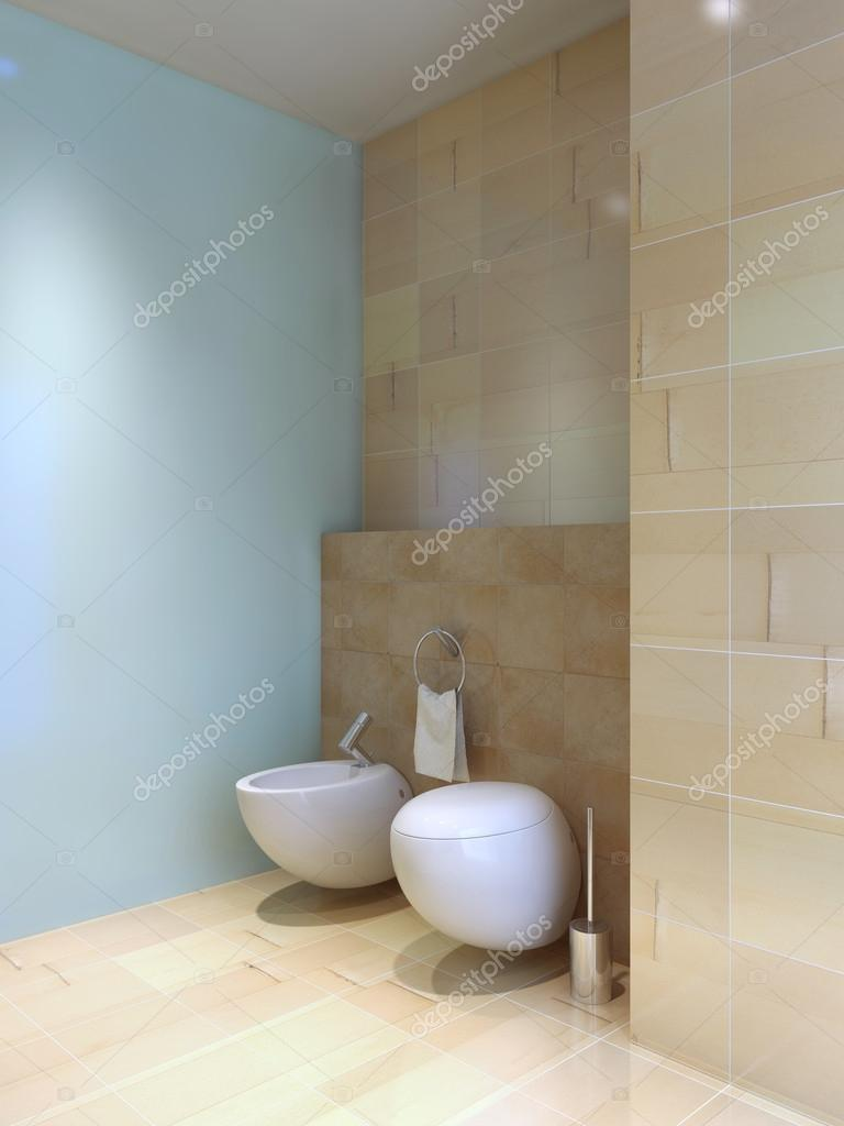 Toilet and bidet near tiled wall — Stock Photo © kuprin33 #83427044