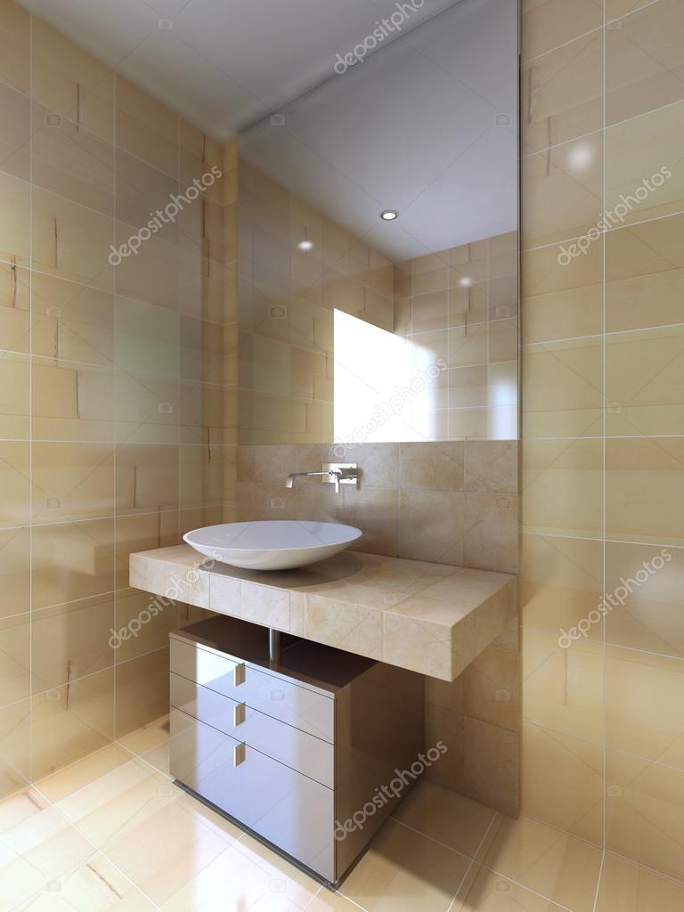Une salle de bains moderne avec console de lavabo en beige et blanc ...