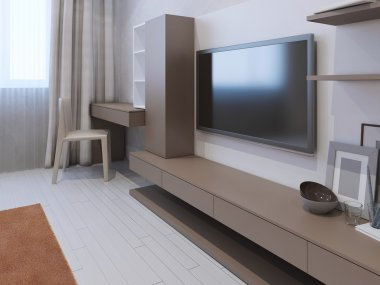 Wall system in light brown color