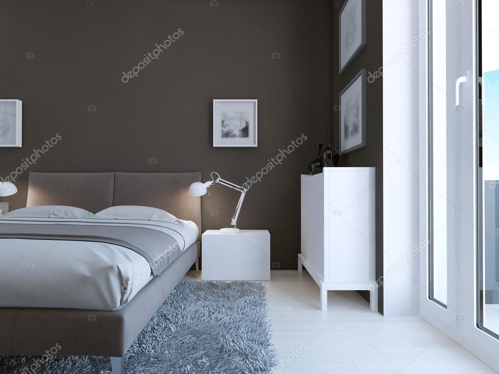 Parete Grigia Camera Da Letto high-tech bedroom design — stock photo © kuprin33 #83430878