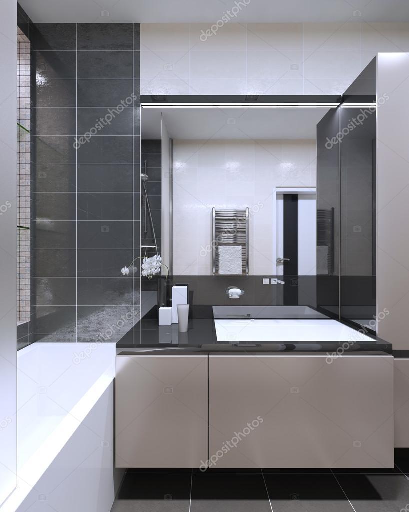 Badezimmer Modern Mit Großer Spiegel Mit Neon Lampen, Pfirsich Puff Möbel  Mit Anthrazit Farbe Dekoration. 3D Render U2014 Foto Von Kuprin33