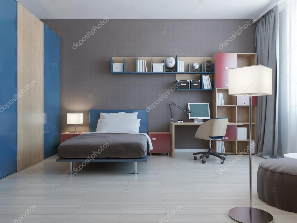 Tavolo con sistema a parete in camera da letto moderna — Foto Stock ...