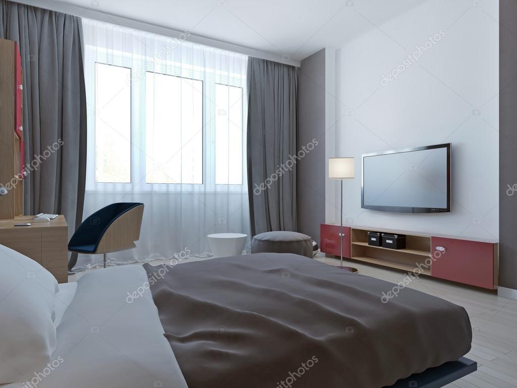 Camere Da Letto Pareti Grigie : Camera da letto con pareti grigie e nicchia u foto stock