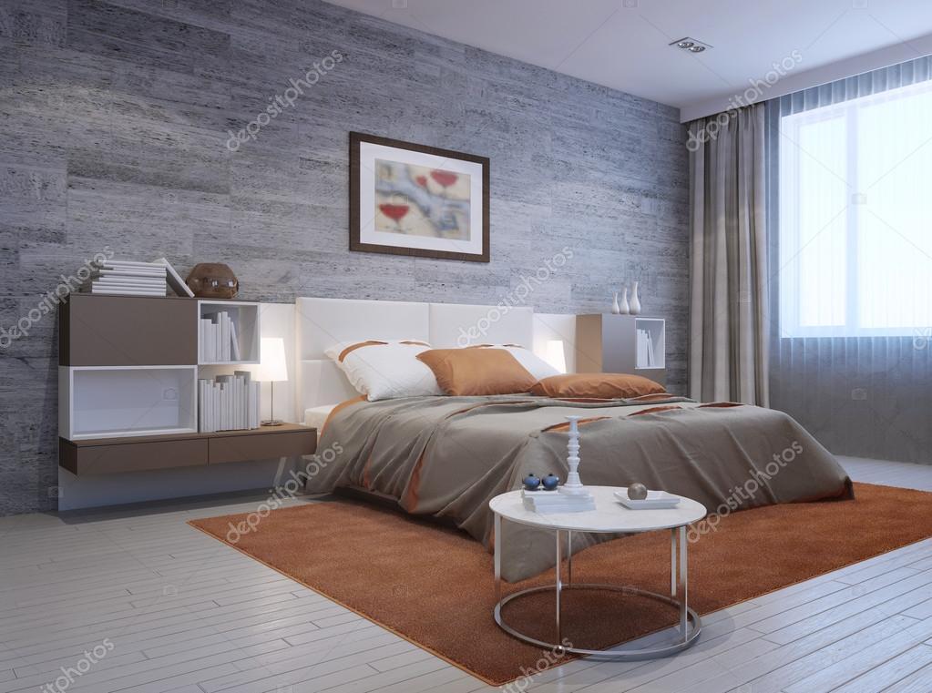 Vista del interior de dormitorio moderno foto de stock for Foto del dormitorio principal moderno